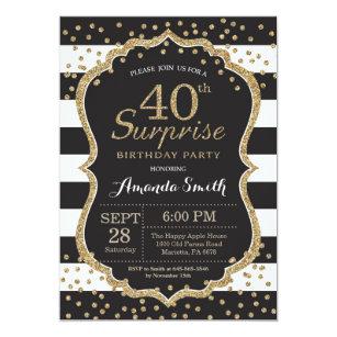 Surprise 40th Birthday Invitation Gold Glitter Card