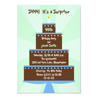 Surprise 40th Birthday Party Invitation Cake