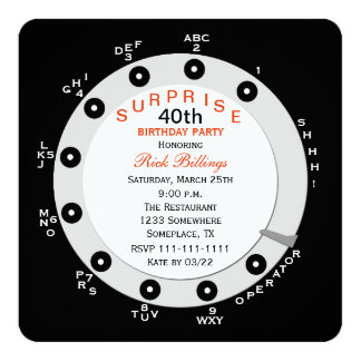 Surprise 40th Birthday Party Invitation Rotary