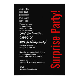 SURPRISE 40th Birthday Trendy Black White Red Personalized Announcement