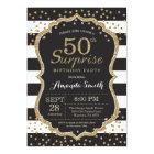 Surprise 50th Birthday Invitation. Gold Glitter Card