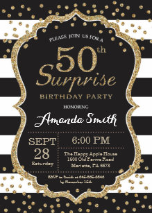 Surprise 50th Birthday Invitation Gold Glitter