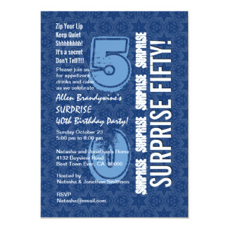 SURPRISE 50th Birthday Modern Blue and White F646 Card