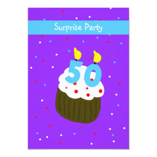 Surprise 50th Birthday Party Invitation Cupcake
