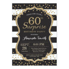 Surprise 60th Birthday Invitation. Gold Glitter Card