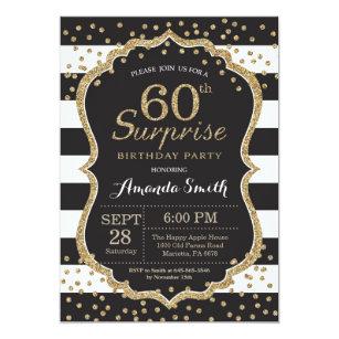 Surprise 60th Birthday Invitation Gold Glitter Card