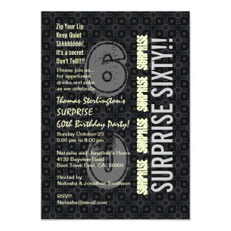 SURPRISE 60th Birthday Modern Vertical Numbers Card