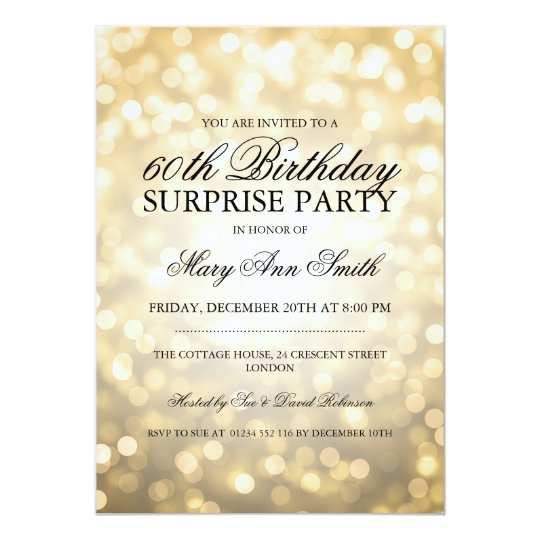 Surprise 60th Birthday Party Gold Glitter Lights Card