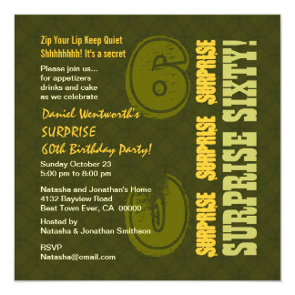 SURPRISE 60th Modern Birthday Khaki and Gold W583 Card