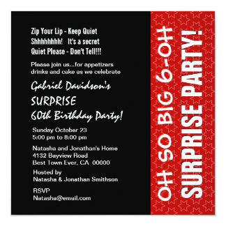 SURPRISE 60th Year Birthday Red Stars Q004 Card