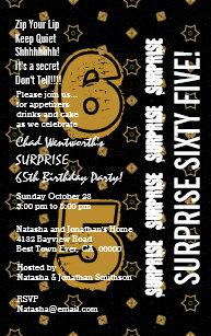 SURPRISE 65th Modern Birthday Gold And Black W199B Invitation