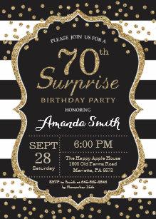 Surprise 70th Birthday Invitation Gold Glitter Card