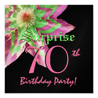 "SURPRISE 70th Birthday Pink Green Flower W1444 5.25"" Square Invitation Card"