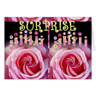 SURPRISE 75th Birthday Party with Double Roses Card