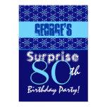 "SURPRISE 80th Birthday Blue Stars W1431 5"" X 7"" Invitation Card"