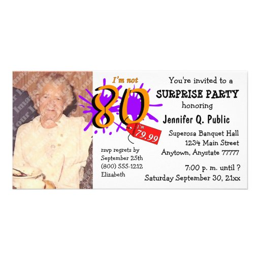 Surprise 80th Birthday Party Photo Invitation Customized Photo Card