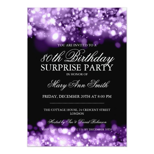 Surprise 80th Birthday Purple Sparkling Lights Card