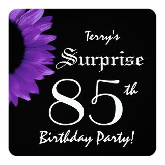 "SURPRISE 85th Birthday Party PURPLE Sunflower A08B 5.25"" Square Invitation Card"