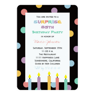 "Surprise 85th Birthday Party with Five Candles 5"" X 7"" Invitation Card"