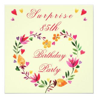 "Surprise 85th Birthday Watercolor Floral Heart 5.25"" Square Invitation Card"