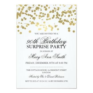 Surprise 90th Birthday Party Gold Foil Confetti Card