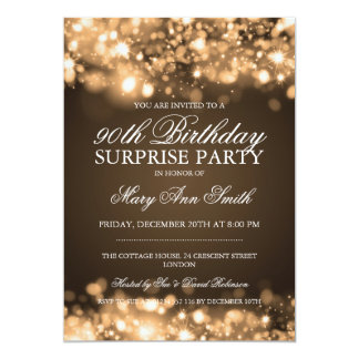 Surprise 90th Birthday Party Gold Sparkling Lights Card