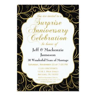 Surprise Anniversary Invitation Black Gold Swirl