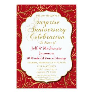 Surprise Anniversary Invitation Red Gold Swirl