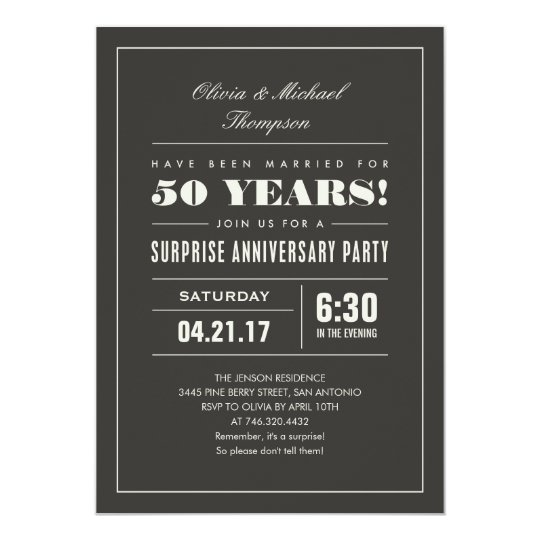 Surprise Anniversary Party Invitations - Big Type