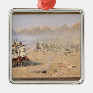 Surprise Attack, 1871 Silver-Colored Square Ornament