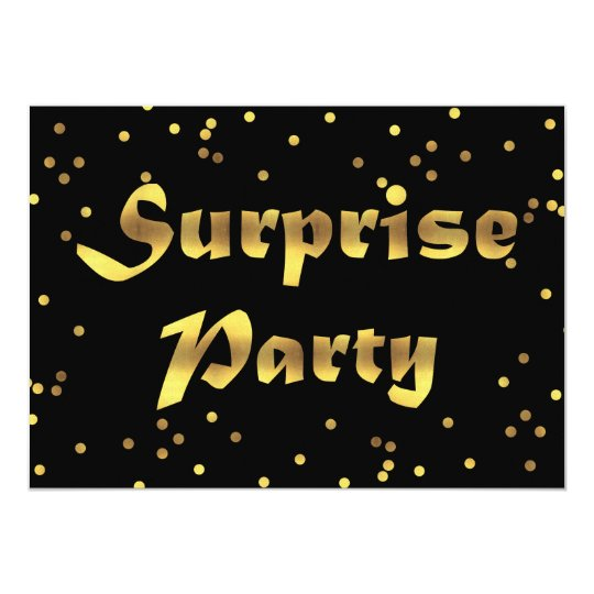 Surprise Birthday Faux Gold Foil Confetti Black Card