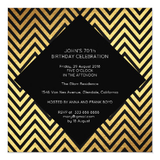 Surprise Birthday Party Art Deco Geometric Gold Card