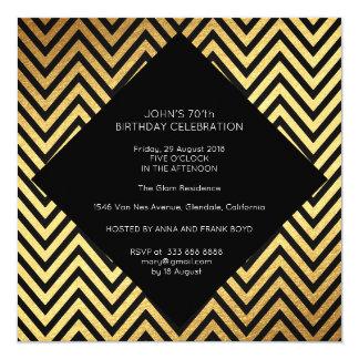 Surprise Birthday Party Art Deco Geometric Gold Card