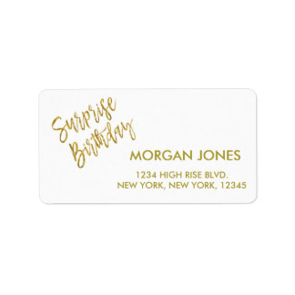 Surprise Birthday Party Birthday Address Label