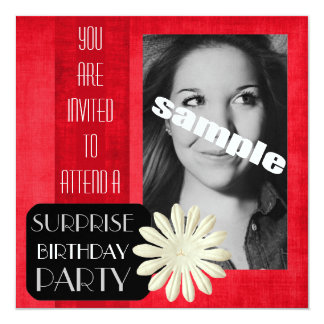 Surprise Birthday Party for Young Lady Hot PINK Card