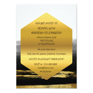 Surprise Birthday Party Golden Brushes Glam Card