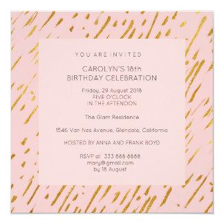 Surprise Birthday Party Modern Powder Pink Gold Card