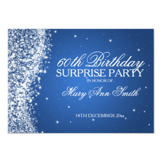 """Surprise Birthday Party Sparkling Wave Blue 5"""" X 7"""" Invitation Card"""