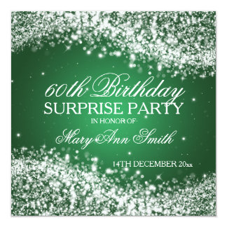 """Surprise Birthday Party Sparkling Wave Green 5.25"""" Square Invitation Card"""