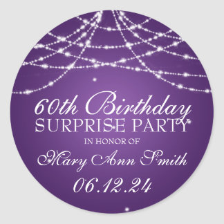 Surprise Birthday Party String of Stars Purple Sticker