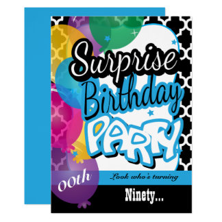 Surprise Birthday Party with Balloons Invitations