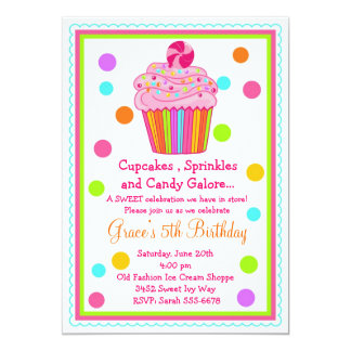 Surprise  Candy Cupcake Birthday Invitation