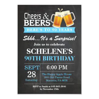Surprise Cheers and Beers 90th Birthday Invitation