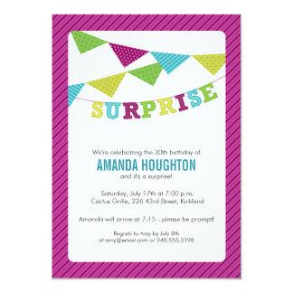 Surprise Flags Surprise Party Invitation in Purple