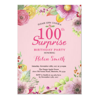 Surprise Floral 100th Birthday Invitation Women
