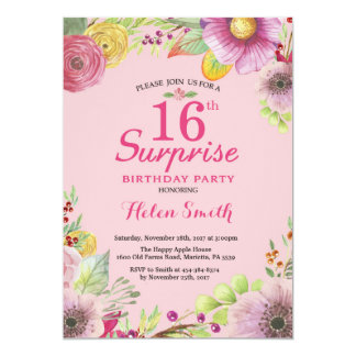 Surprise Floral 16th Birthday Invitation for Women