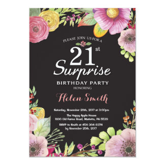 Surprise Floral 21st Birthday Invitation for Women