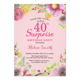 Surprise Floral 40th Birthday Invitation for Women