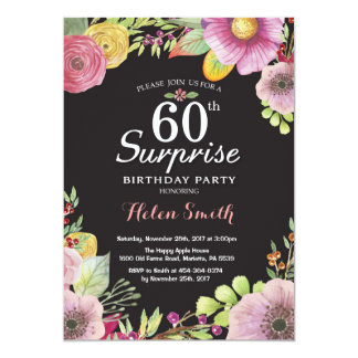 Surprise Floral 60th Birthday Invitation for Women