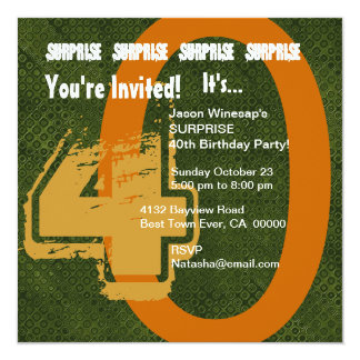 SURPRISE Grunge 30th Birthday Green and Gold S302 Card